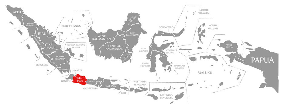 West Java red highlighted in map of Indonesia