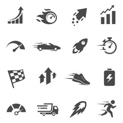 Speed and performance black and white glyph icons set