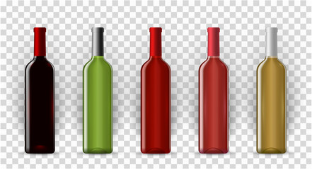 Blank wine bottles realistic vector mockup set