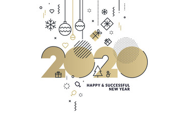Happy New Year 2020 business greeting card. Modern vector illustration concept for background, greeting card, website banner, party invitation card, social media banner, marketing material.