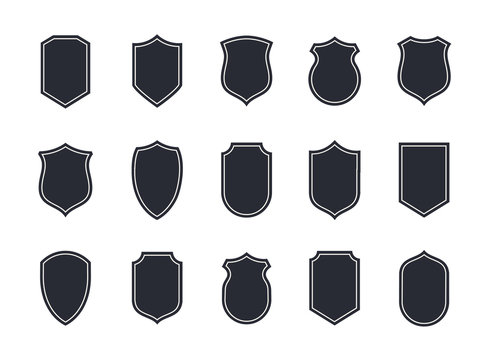 Shield blank emblems. Heraldic shields, security black labels. Knight award, medieval royal vintage badges isolated vector.