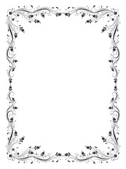 Wall Mural - Decorative vintage frame with floral ornament in retro style isolated on white