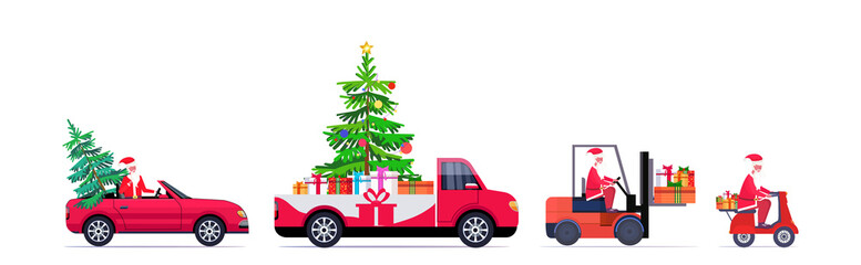 set santa claus driving red pickup car forklift and scooter with fir tree and gift present boxes merry christmas happy new year winter holidays concept horizontal vector illustration