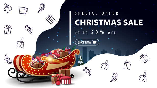Special offer, Christmas sale, up to 50% off, beautiful white and blue discount banner with Santa Sleigh with presents and Christmas line icons, space imagination