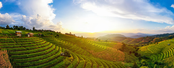 Panorama Aerial View sunlight at twilight of Pa Bong Piang terraced rice fields, Mae Chaem, Chiang Mai Thailand