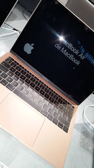 MacBook air in retail sale of new MacBooks official store Apple Modern and stylish laptops