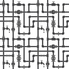 Seamless pattern with pipes, cranes and water meters. Linear black and white illustration. White backdrop. Plumbing system vector illustration.