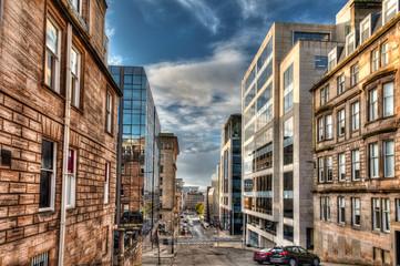 Blythswood street. the city of Glasgow in Scotland, United Kingdom