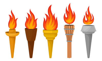 Different Torches With Brightly Burning Fire Vector Set