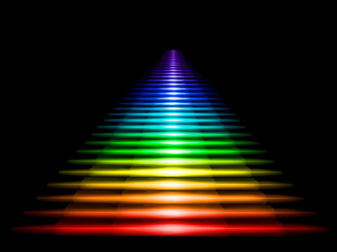 Multi-colored luminous staircase on a black background