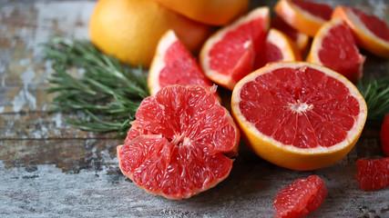Fresh juicy grapefruits. Vegan diet. Healthy food. Keto diet. Selective focus. Macro. Papier Peint