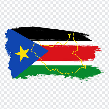 Flag Republic of South Sudan from brush strokes and Blank map of South Sudan. High quality map of South Sudan and national flag on transparent background for your web site design, logo. EPS10.