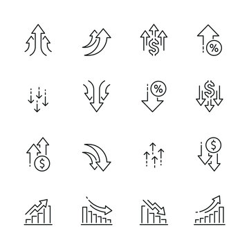 Increase and decrease related icons: thin vector icon set, black and white kit
