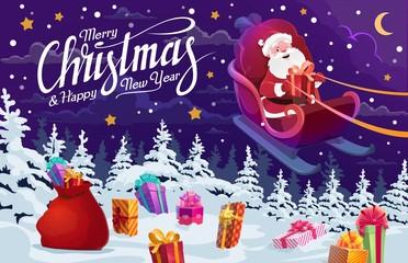 Santa with Christmas gifts flying on deer sleigh