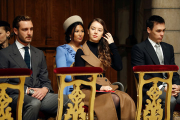 Pierre Casiraghi, Princess Alexandra of Hanover, Louis Ducruet and his wife Marie attend a mass at Monaco Cathedral during the celebrations marking Monaco's National Day