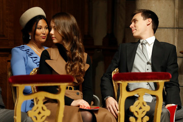 Princess Alexandra of Hanover, Louis Ducruet and his wife Marie attend a mass at Monaco Cathedral during the celebrations marking Monaco's National Day