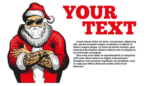 Cool Santa Claus vector illustration, banner