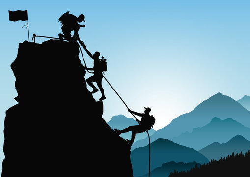 Silhouette of three men climbing mountain by helping each other on blue mountains background, successful teamwork concept vector illustration