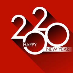 Carte de vœux design pour 2020, avec un graphisme moderne et original sur un fond rouge, pour annoncer les projets et les orientations de l'entreprise pour nouvelle année.
