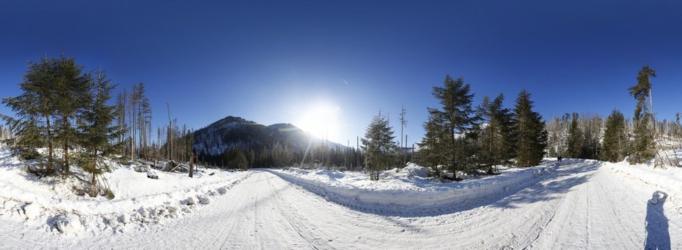 Winter Landscape of Tatra Mountains 360 Panorama