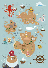 Pirate map for children in a Scandinavian style. Vector illustration. Perfect for play room design and posters for your child's room.