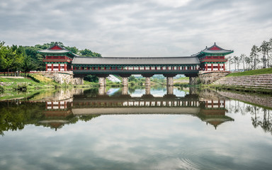 Woljeonggyo covered bridge scenic view and water reflection on cloudy day Gyeongju South Korea
