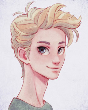 Portrait of a handsome cartoon young blond man looking at the camera. Cartoon character happy teenage boy in casual clothes on white background. Digital illustration of an Asian man with big blue eyes