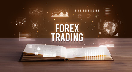 FOREX TRADING inscription coming out from an open book, creative business concept