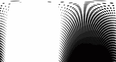 Halftone wave psychedelic background. Curved gradient texture or pattern. Vertical gradient dots. Pop art texture. Vector illustration.