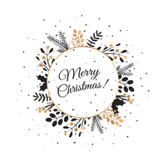 Merry Christmas lettering with wreath decoration of leaves.