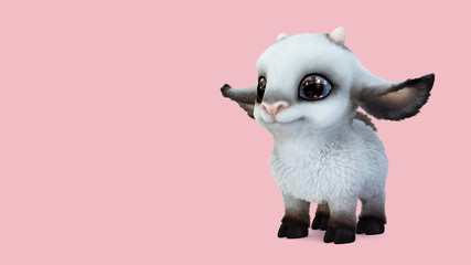 Kawaii smiling cute cartoon sheep with big blue eyes standing on pink background. Concept art of a small white kawaii fluffy sheep with big ears and small horns. Adorable lamb. 3d digital illustration