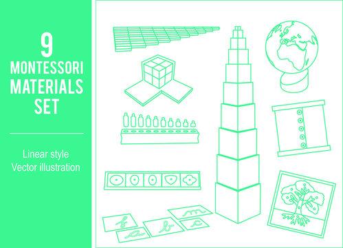 9 Montessori materials set. Linear art elements. Vector design.