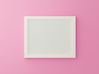 White blank photo frame on pink background in gallery. 3d render illustration. Empty mock up clean sweet picture on pastel texture. Valentines and minimal concept. Interior design. Horizontal.