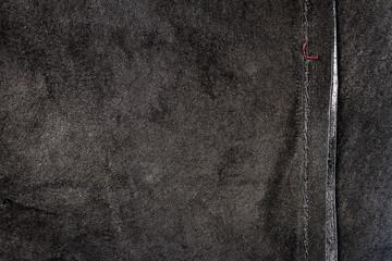 Poster Sushi bar Black leather texture background, back side
