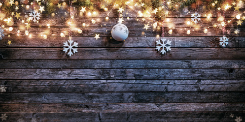 Christmas rustic background with wooden planks Fotomurales