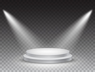 Podium stand isolated on transparent background. White circle plinth, pillar or display stage. Vector empty prize pedestal with projector light beams.