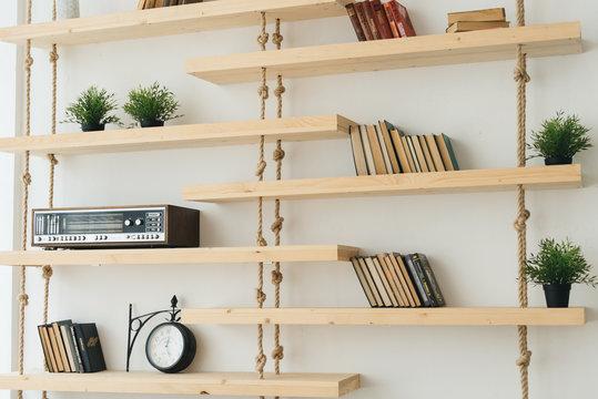 Vintage style home office with bookshelf, radio
