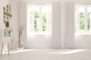Photo sur Toile Vieux rose Stylish empty room in white color with summer landscape in window. Scandinavian interior design. 3D illustration