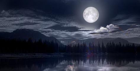full moon over the lake Fotomurales