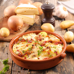 tartiflette, french gastronomy dish with potato, bacon and cheese