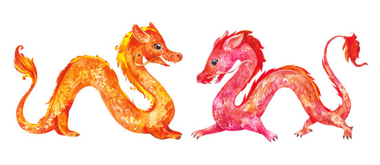 Watercolor chinese red and yellow dragons isolated