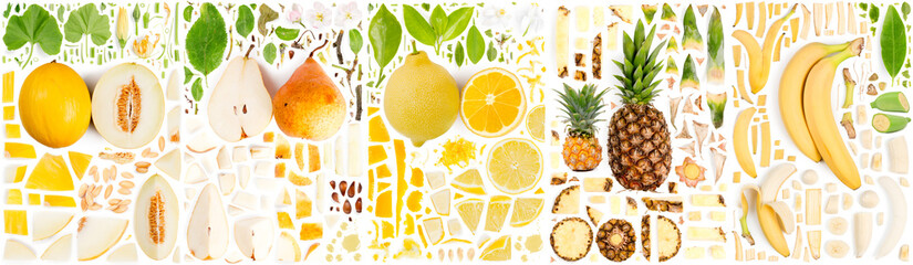 Yellow Fruit Slice and Leaf Collection