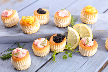 finger food with caviar, avocado or carrot mousse- festive appetizer