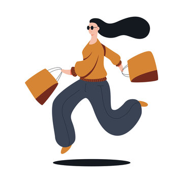 Funny girl shopper vector cartoon shopping illustration isolated on a white background.