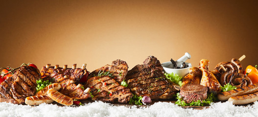 Panorama banner with assorted barbecued meat