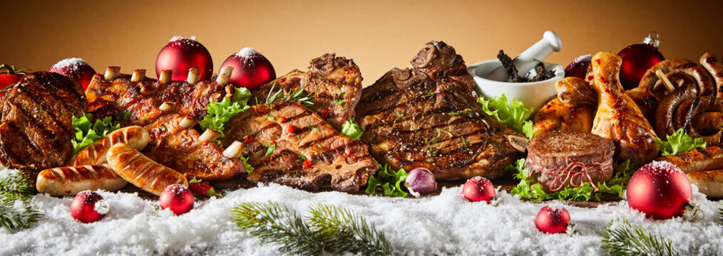 Grilled meat in winter holiday banner