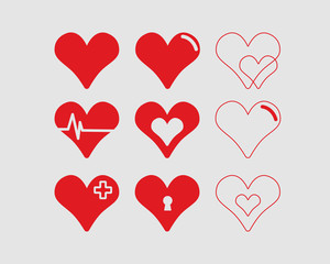 Red hearts vector illustrations set medical style