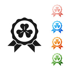 Black Medal with four leaf clover icon isolated on white background. Happy Saint Patrick day. Set icons colorful. Vector Illustration