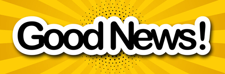 good news label in colored background