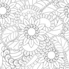 Set of seamless with openwork flowers in black and white color flower patterns on black backgrounds, sample for fabric and print papern